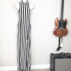 Wet Seal rayon striped mockneck maxi slit dress